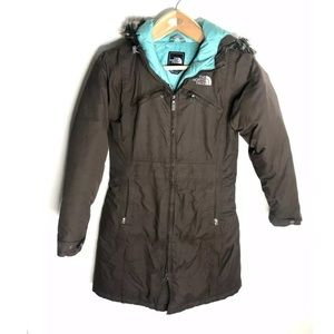 The North Face XS Brown Puffer Jacket Hooded Fur
